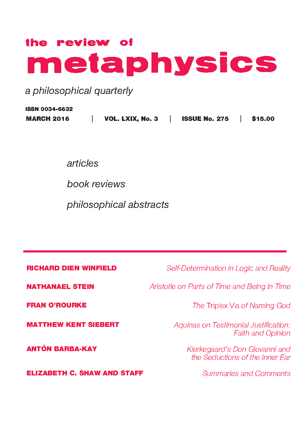 Review of metaphysics dissertation contest